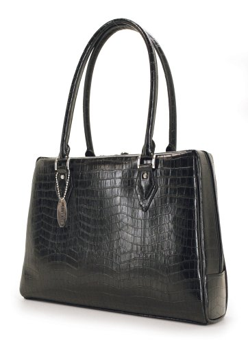 Mobile Edge Women's Black, Milano 15.4 Inch Business Laptop Handbag Faux Croc, Soft Poly-Suede Lining Protection, MEMC1S ()