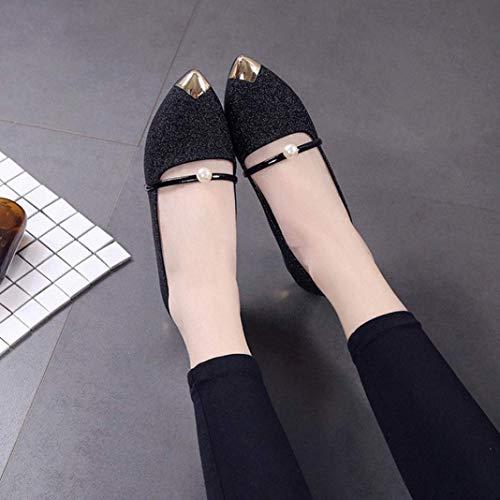coloré Bottes Plates New Taille Décontractées Uk Noir Chaussures À Bas 4 Ladise , Qiusa Pour Talons 5 Shoes Noir Femme wOdw8q