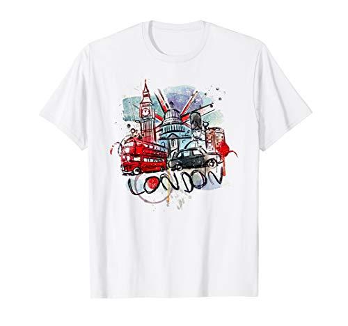 Lovely London City Union Jack UK Flag Abstract Art T-Shirt