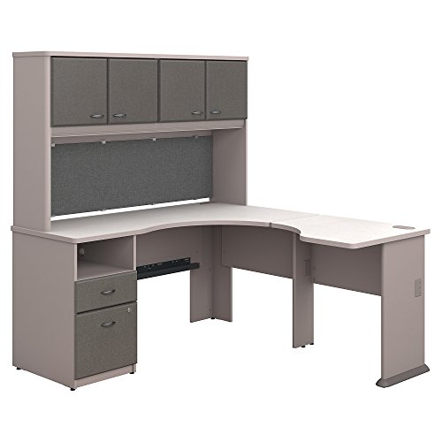 Bush Business Furniture Series A 60W x 65D L Shaped Desk with Hutch and 2 Drawer Pedestal in Pewter and White Spectrum by Bush Business Furniture