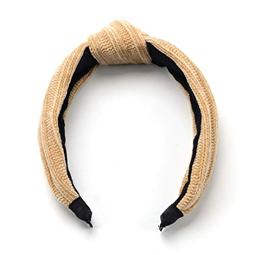 Knitted Wool Middle Knotted Headband For Women Autumn Winter Girls Hairband Washing Headwear Korean Haar Hair Accessories Apricot ()