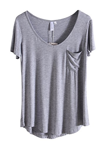 MONOLAR Summer Feminine Womens T Shirt With Pocket Short Sleeve Top Tee Grey 2XL