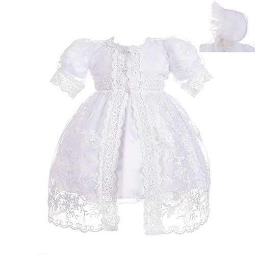 Dressy Daisy Baby Girls' Baptism Dress Christening Gown with Cape Bonnet Embroidered Christening Outfit for Girls Size 12 Months ()