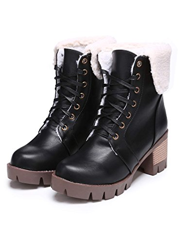 Fold eshion Motorcycle Women Square Up Heel Faux Black Boot Platform Up Leather Lace 5qFp1qrHxw