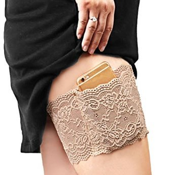WJiXin Stylish non-slip thigh strap - can hold mobile phones and cards size M (Black1)