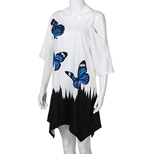 OrchidAmor Large Size Women Butterfly Printing T-Shirt Short Sleeve Casual Tops Blouse White -