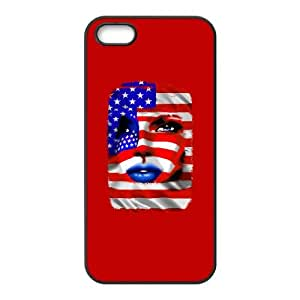 iPhone 5 5s Phone Case Covers Black USA Flag Girl Portrait PUS Unique Cell Phone Case For Boys