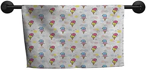 xixiBO Indoor Scarf W 28 x L 12(inch) Highly Water Absorbent Hotel Bathroom Towel,Ice Cream,Cartoon Style Characters with Funny Face Expressions and Abstract Pastel Spots,Multicolor