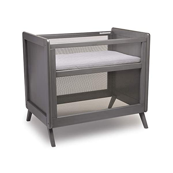 BreathableBaby Mesh Mini Crib with Mattress, Gray