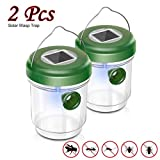 Wasp Catcher,AutumnFall Bee Trap Catcher Life Outdoor Solar Powered Flying Hanging Trap Ultraviolet LED Fly Catcher Killer (2PCS, Green)