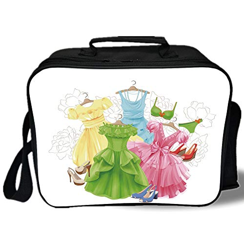 Insulated Lunch Bag,Heels and Dresses,Princess Outfits Bikini Shoes Wardrobe Party Costumes Girls Room Decor,Multicolor,for Work/School/Picnic, Grey -