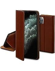 Moozy Echte Leren Hoes voor iPhone 11 Pro Max, Bruin - Magnetische Premium Leren Fliphoes Case Cover met Kaarthouder, Kaartsleuf en Standaard