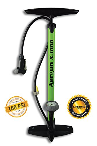 AerGun X-1000 Bike Pump – Unique AerTight Pump Head for EASIEST use with both Presta and Schrader Bicycle Pump Valves – Pressure Gauge – 160 (Psi Bicycle Tires)