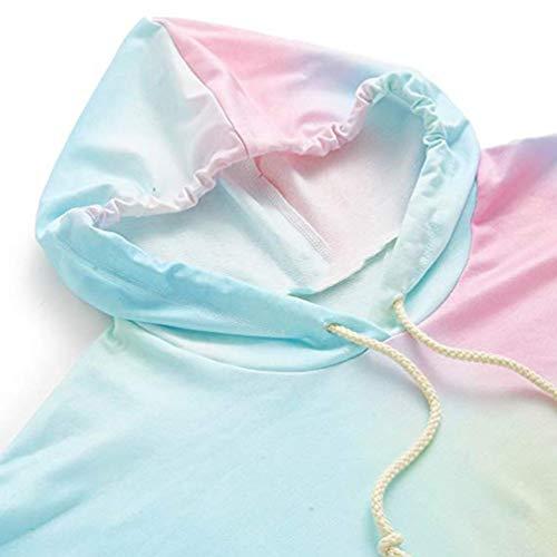 Bleu Chic Pull Fille Imprim Longues Blouse Capuche Manches Sweatshirt Dgrad Sweat Bringbring Femme Couleur Tops Automne xZ41Xq