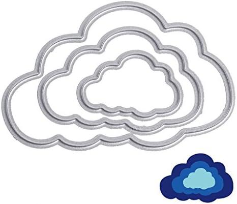 KaMan-Co カットダイダイ雲形状炭素鋼ステンシル、DIYスクラップブックアルバムクラフトカードをカット