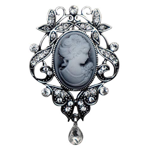 NIANXIN Vintage Style Cameo Pendant Necklace Victorian Lady Cameo Long Necklace 24