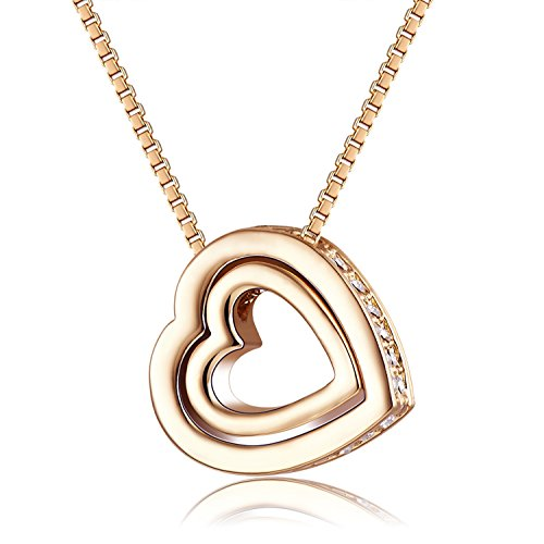 Mondaynoon-Deal-of-the-Gift-I-Love-U-Forever-Womens-Dual-Heart-Pendant-Charm-Necklace-Created-Clear-Austrian-Crystal-157-19-Inch-Extender