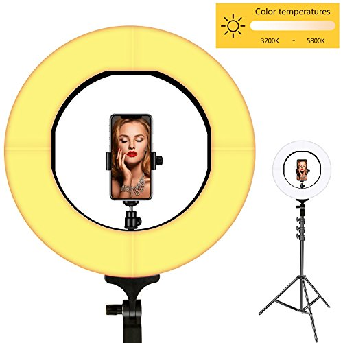 16in 1 Flash - Ring Light, LOKFWORLD Bi-color Dimmable LED Ring Light 14 Inches Photography Ring Light with Stand Cellphone Holder Hot Shoe Adapter for Outdoor Shooting Live Streaming Make Up and YouTube Video