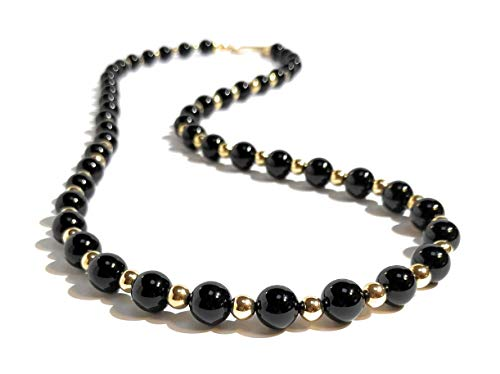 Men's 10mm Black Onyx and 14/20 Gold Bead Necklace Custom Length