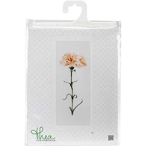 Carnation Cross - Thea Gouverneur 468A Carnation Peach on 18 Count Aida, Counted Cross Stitch Kit, 6.7-Inch-by-16.5-Inch