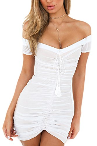 Malla White Vestido Acanalada Bodycon Mujeres Club Apretada Verano Las Hombro 8Bqwnvxgfa