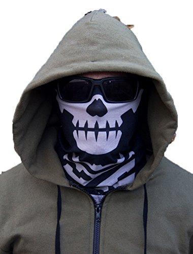 Milspec Monkey MSM SKULL FACE Mask Multi Wrap Head Gear - Urban Black