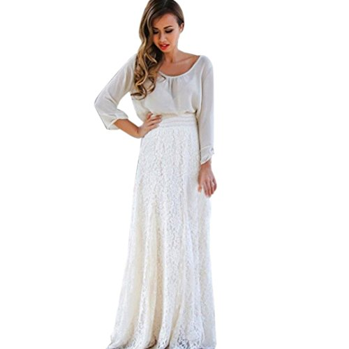 OOEOO Long Maxi Skirt Women High Waist Lace Double Layer Pleated Elastic Party Skirt (White, (Long Ball Cellars)
