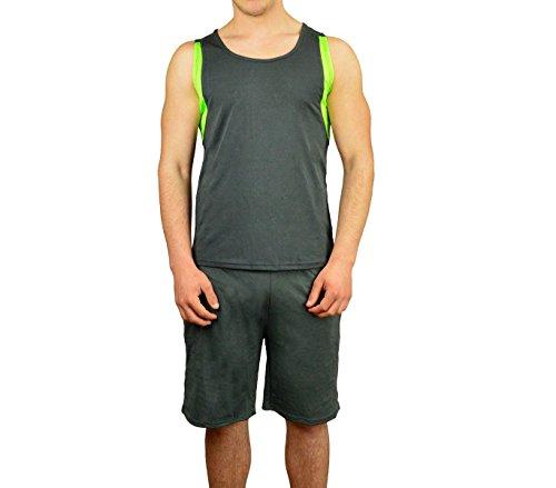 Completo sportivo da uomo ALTHANIUS pantaloncini e canotta dalla S alla XL. MEDIA WAVE store ® (M/L, Grigio e Verde)