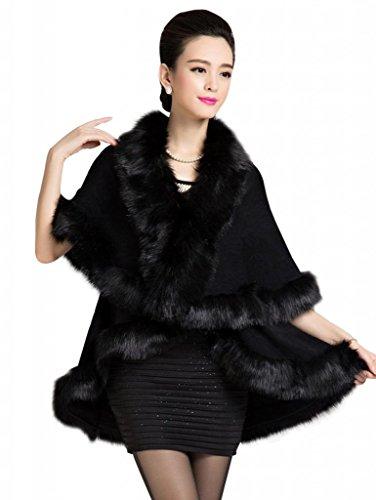 Yasong Women Ladies Girls Floral Cape Coat Faux Fur Knitwear Pounch Cloak Shawl Wrap 007 Black