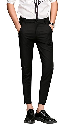 Plaid&Plain Men's Slim Fit Dress Pants Cropped Skinny Dress Pants 7603Black 38X32