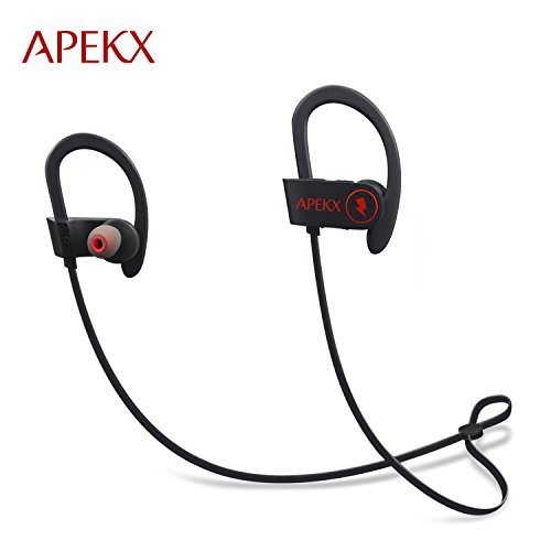 APEKX Bluetooth Earbuds, Sport Wireless Headphones Noise Cancelling In-Ear Earphones for Running Gym Sweatproof Secure Fit Headset with Mic(Black)