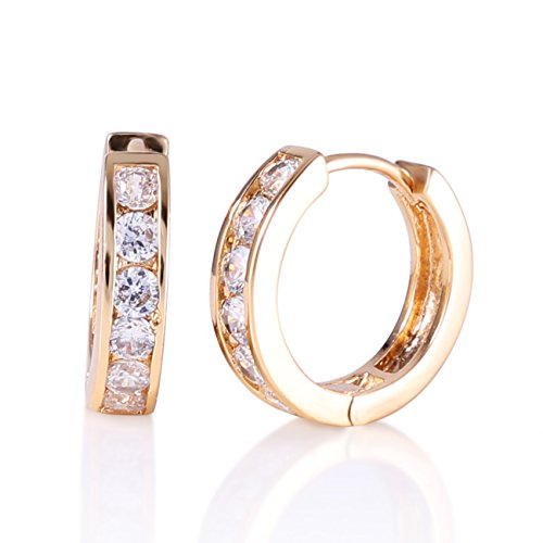 GULICX Gold Tone Adorable lady Retro White Agate Party Huggie Hoop (Gold Tone Huggie Earrings)