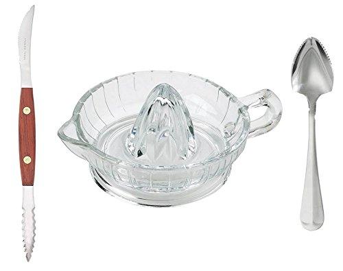 HIC exprimidor de cristal, squirt-free pomelo Cuchillo, y cuchara de pomelo con serrado borde: Amazon.es: Hogar