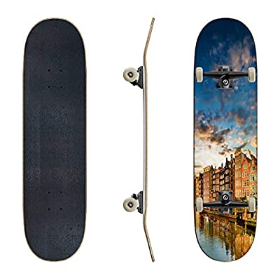 EFTOWEL Skateboards Amsterdam Twilight Scene Water Surface Stock Pictures Royalty Free Classic Concave Skateboard Cool Stuff Teen Gifts Longboard Extreme Sports for Beginners and Professionals : Sports & Outdoors
