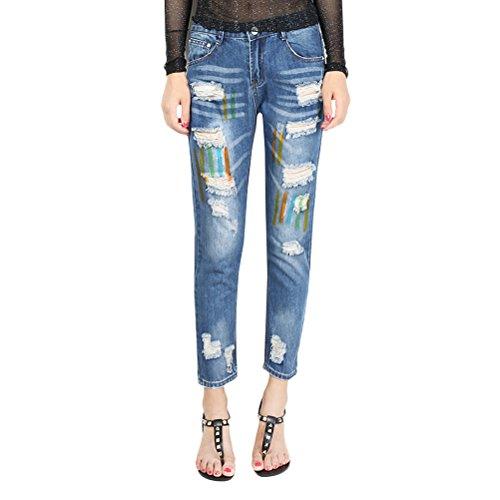Zhuhaitf Fashionable Popular Ladies Juniors Denim Jeans Graffiti Cartoon Destroyed Jean Pants Dark Blue