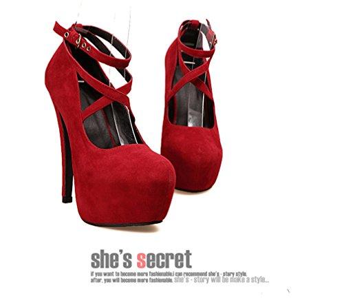 sexy à Xianshu talons Suede chaussures Womens imperméable haute la à Rouge cheville faq4U