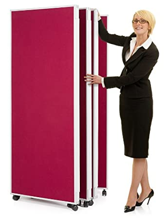 Mobile Concertina Screens 7 Panel Display Room Dividers On Wheels