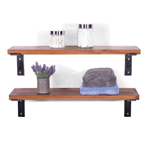 DAKODA LOVE Heavy Duty Industrial Grade Stud Mounted Shelves, USA Handmade, Clear Coat Finish, Black Brackets & Hardware, Supports up to 200 lb per Shelf, Rustic Wood (Set of 2) (Bourbon)