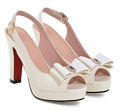 Sandales Noeud Blanc Paillettes Haut Chic Talon Aisun Femme xBYwqgF8