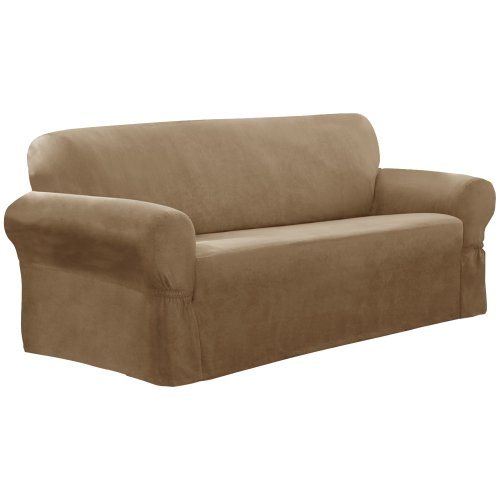 Maytex Mills Piped Suede 1-Piece Sofa Slipcover, Tan