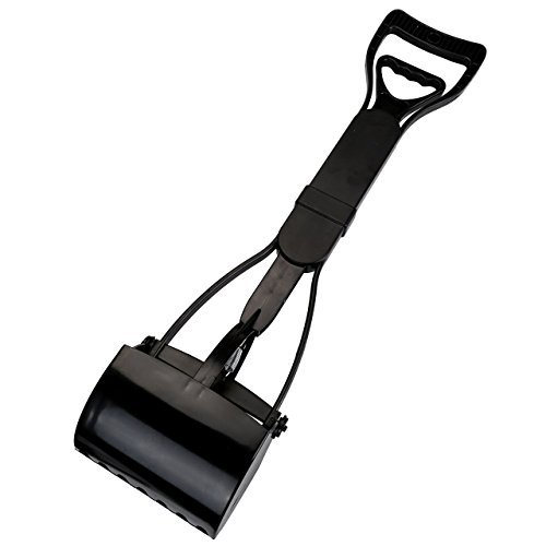 CozyCabin Dog Pooper Scooper Pickup Tool Dog Waste Scoop Sanitary Shovel - Great in Grass, gravel, Snow, Dirt, Cement (Black)