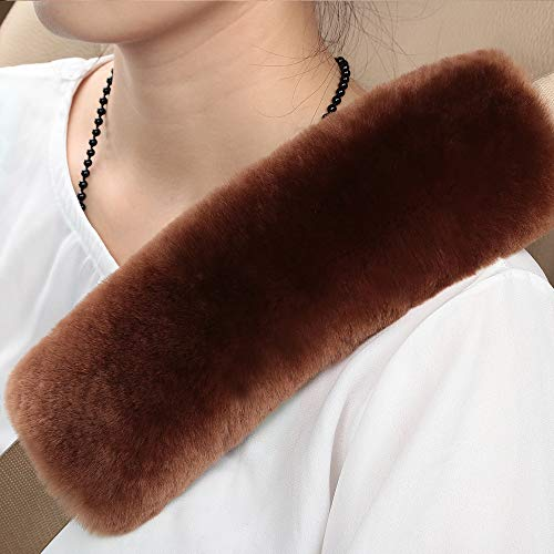 Brown Pad Wool - Natural Fur Eco-Friendly Comfort Authentic Fluffy Sheepskin Car Seat Belt Pads, Soft Texture Shoulder Neck Cushion Pad, Genuine Australia Merino Wool Seat Belt Cover (Saddle Brown)