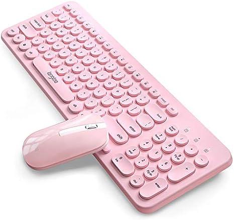 wgl Combinación inalámbrica de ratón de Teclado Instalado ergonómico Ordenador portátil inalámbrico ratón Chica Rosa