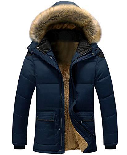 MogogoMen Hooded Large Size Plus Velvet Puffer Jacket with Pockets Dark Blue