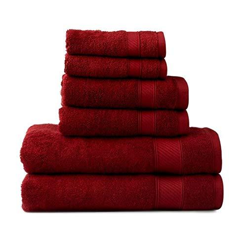 (Wamsutta 6-Piece Hygro Duet Bath Towel Set Includes Washcloths,Hand Towels Bath Towels (Wine))