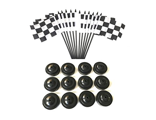 BOX of 12 Black and White Checkered 4''x6'' Miniature Desk & Table Flags With 12 Flag Stands, 4x6 Black and White Checkered Small Mini Stick Flags by World Flags Direct