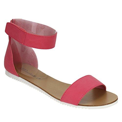 Breckelles Women Metallic Ankle Strap Sandal Pink