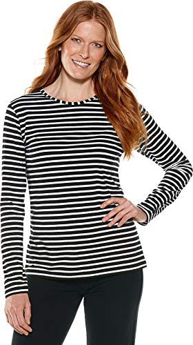 Coolibar UPF 50+ Women's Long Sleeve Everyday T-Shirt - Sun Protective (Small- Black/White -