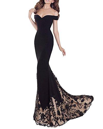 Vestido de Fiesta Largo de Mujer sin Tirantes de Boho Maxi Largo Falda de Sirena Vestidos de Cóctel Negro