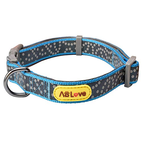 AOLOVE Reflective Collar Soft & Comfortable Padded Polka Dots Nylon Adjustable Collars for Puppy Small Medium Large Dogs (Neck Fit 12'' - 16'', Blue)